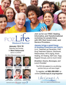 Flyer for Poz Life Weekend